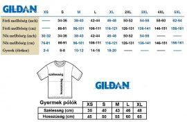 GILDAN FÉRFI/NŐI PÓLÓ/TRIKÓ MÉRETTÁBLA