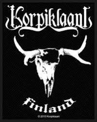 KORPIKLAANI: Finland logó  kis felvarró, szövött (8 x 10 cm)