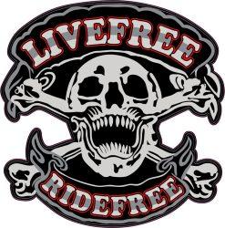 LIVEFREE- RIDEFREE   felvarró ( hímzett, 10x10 cm) (RENDELÉSRE)