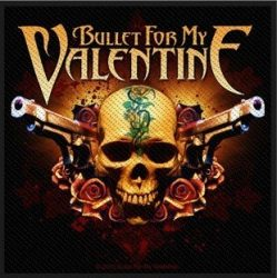BULLET FOR MY VALENTINE: Skull And Guns  kis felvarró (9,5x10 cm)