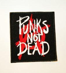 PUNKS NOT DEAD: Logo  kis felvarró  ( hímzett, 9x11 cm)